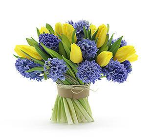 Букет из тюльпанов и гиацинтов с доставкой в Тамбове