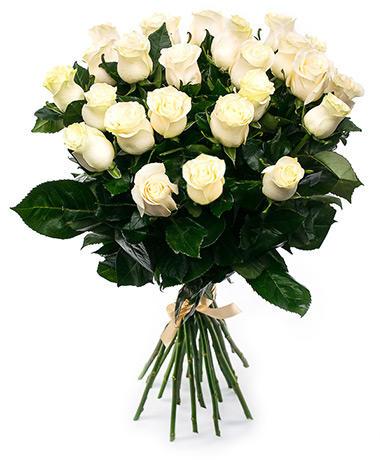 Белые розы длинные 80 см