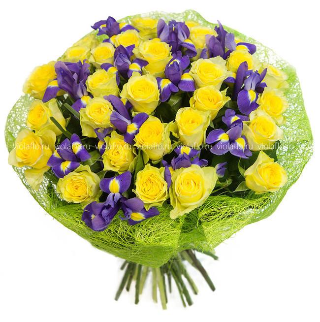 Заказать доставка, желтые роза ирисы букет