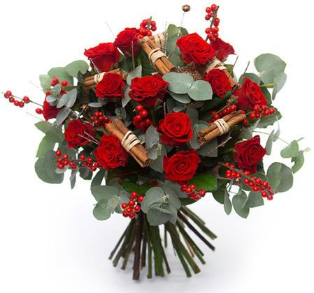 Букет с розами «Пламя»