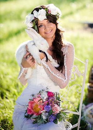 Сказочный свадебный букет и венок