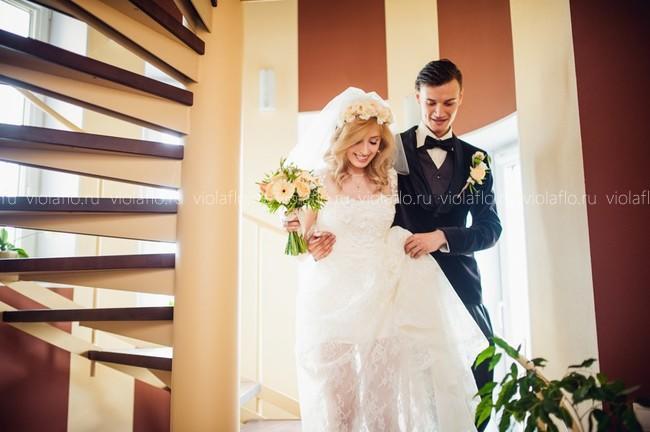 Свадебный букет теплых оттенков