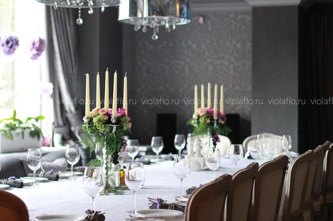 Украшение цветами в ресторане «Серый кардинал»